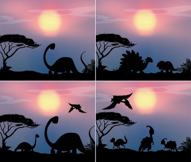 Stellen sie dinosaurier in naturhintergrund ein