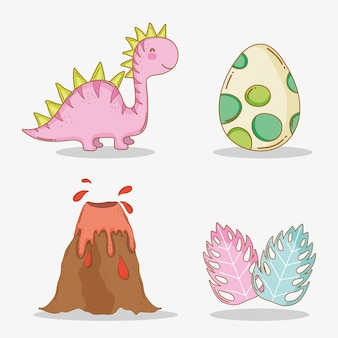 Stellen sie diplodocus mit dino-ei und vulkan mit blättern ein
