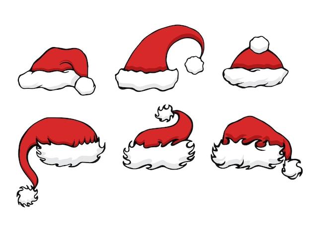 Stellen sie doodle weihnachtsmützen für ihre kreativität ein