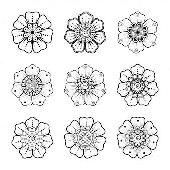 Stellen sie ein kreisförmiges muster in form eines mandalas ein. henna tattoo mandala. mehndi-stil. dekoratives muster im orientalischen stil. malbuch seite.