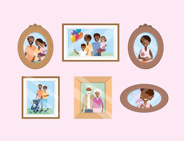 Stellen sie ein porträt mit erinnerungen an familienbilder ein