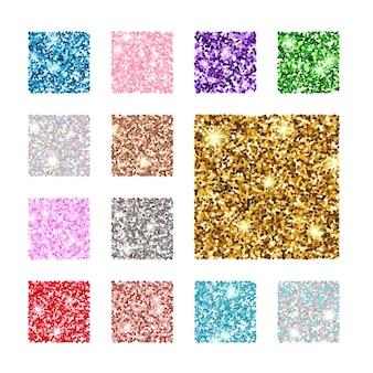 Stellen sie ein quadratisches glitzer-texturmuster ein. gold, silber, rot, rosa, blaugrün lila
