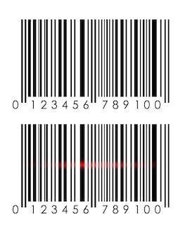 Stellen sie ein realistisches barcodesymbol ein. ein moderner einfacher flacher barcode.