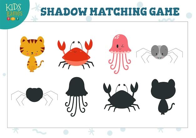 Stellen sie ein, um die richtige schattenerziehung für kinder im vorschulalter zu finden. illustration mit niedlichen tieren für schatten-matching-spiel