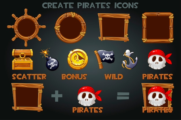 Stellen sie ein, um raubkopien-ikonen und holzrahmen zu erstellen. pak piratensymbole, flagge, münze, anker, schatz. Premium Vektoren