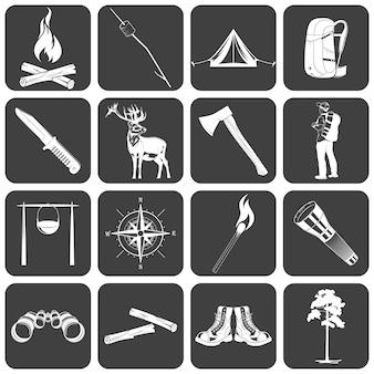 Stellen sie ein, wenn monochrome camping-symbole