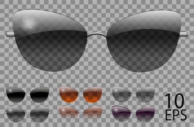 Stellen sie eine brille ein. schmetterlings-katzenaugenform. transparente verschiedene farbe schwarz braun lila. sonnenbrille. 3d-grafik. unisex-frauen männer