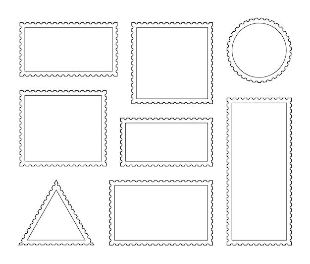 Stellen sie eine leere briefmarke ein. vintage rahmen. post-aufkleber-schablone des gezahnten randversands. vektorgrafikdesign