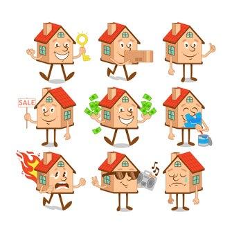 Stellen sie eine sammlung niedlicher comicfigurenhäuser mit verschiedenen situationen und emoji-emotionen ein.