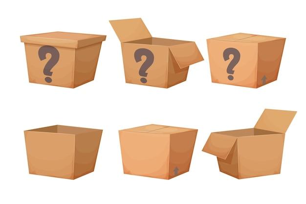 Stellen sie einen mysteriösen karton mit einer geschlossenen frage ein, die im cartoon-stil isoliert vorhanden ist