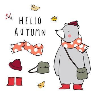 Stellen Sie Element des Herbstes mit nettem Bären ein