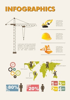 Stellen Sie Elemente der infographics Bauvektorillustration ein