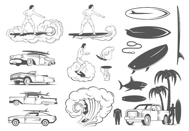 Stellen sie elemente des surfens und des extremsports ein