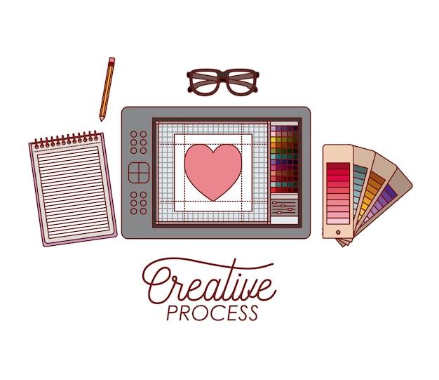 Stellen sie elemente grafikdesign kreativen prozess ein