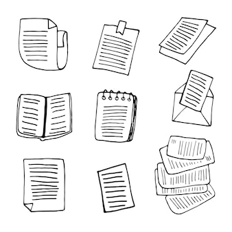 Stellen sie elemente von büchern im doodle-business-set ein. handgezeichnete vektorgrafik für karten, poster, aufkleber und professionelles design.