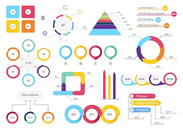 Stellen sie elemente von infografiken ein.