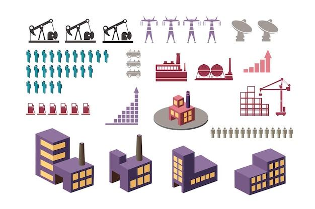 Stellen sie elemente von infografiken zum urbanen thema ein. eine reihe von gebäuden und strukturen.