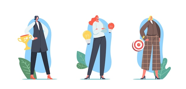 Stellen sie erfolgreichen geschäftsfrau-charakter, top-manager ein. geschäftsfrau mit trophäe, ziel und glühbirne auf dem höhepunkt des erfolgs. führung, gewinner, herausforderung zielerreichung. cartoon-menschen-vektor-illustration