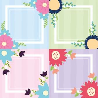 Stellen sie fahnenblumen-rahmensatz o flowerss blaue, grüne, rosa, purpurrote illustration ein