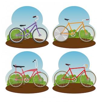 Stellen sie fahrrad in der natürlichen landschaft ein