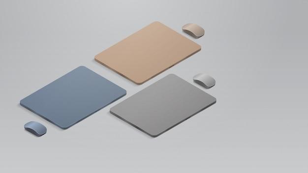 Stellen sie farbige geschlossene laptops mit realistischen modellgeräten und -geräten für mäuse ein