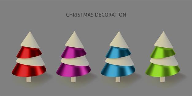 Stellen sie farbige metallische weihnachtsbäume ein.