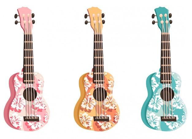 Stellen sie farbige ukulele ein