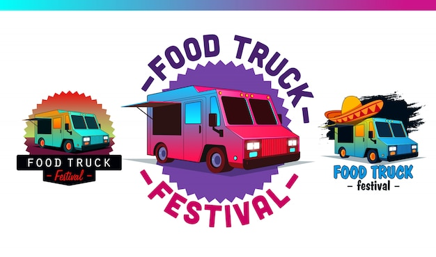 Stellen sie fast-food-etiketten und abzeichen ein. food truck logo und vektorelemente, insignien, zeichen, identität. street food illustrationen und grafiken.