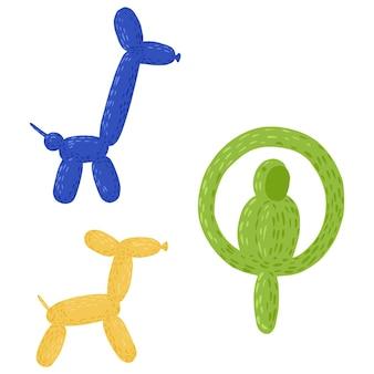 Stellen sie figuren aus ballons auf weißem hintergrund ein. fröhliche elemente hund, giraffe und papagei in blauer, gelber und grüner farbe in stil-doodle-vektor-illustration.