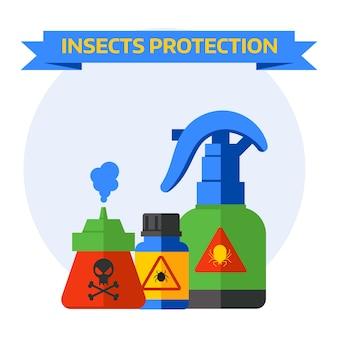 Stellen sie flaschen mit den verschiedenen giftschlägern ein, welche die spinne fliegen, die um todesinsektenschutzvektor kriecht.