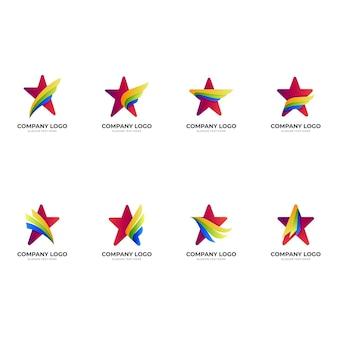 Stellen sie flügelstern-logo, stern und flügel, kombinationslogo mit buntem 3d-stil ein