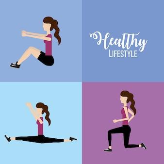 Stellen sie frau gesunden lebensstil, um übung zu tun