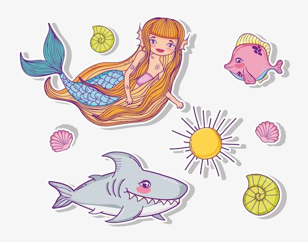 Stellen sie frau meerjungfrau mit hai und muscheln