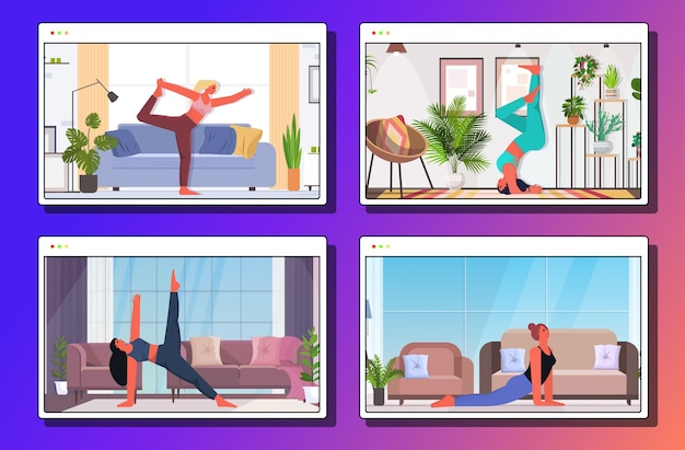 Stellen sie frauen, die yoga-übungen fitness-training gesunden lebensstil konzept mädchen mädchen zu hause webbrowser windows-sammlung trainieren