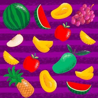Stellen sie fruchtmuster auf einem purpurroten hintergrund ein
