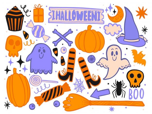Stellen sie für halloween für das design der lustigen landschaft ein. isolierte dekoration
