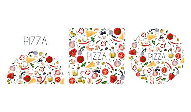Stellen sie für pizzakarton mit traditionellen verschiedenen bestandteilen für pizza ein