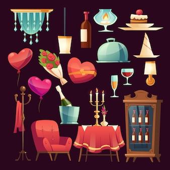 Stellen sie für romantisches abendessen am valentinstag ein