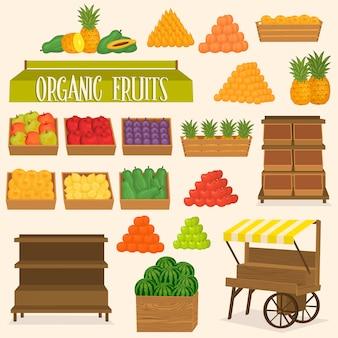 Stellen sie für straßenmarkt mit früchten ein