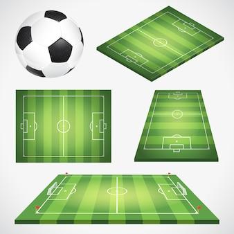 Stellen sie fußballfußballfeld mit ball, flagge und ziel ein. realistische, flache und isometrische fußballsymbole. isolierte vektorillustration