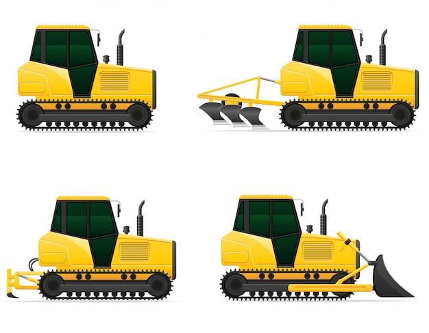 Stellen sie gelbe gleiskettenfahrzeugtraktor-vektorillustration der ikonen ein