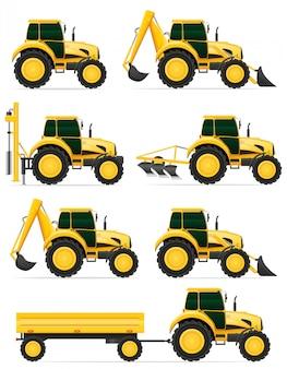 Stellen sie gelbe traktorvektorillustration der ikonen ein