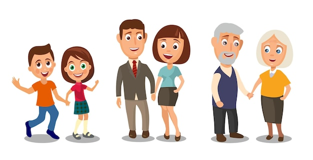 Stellen sie generationen paare ein, die händchen halten unterschiedliches alter vom kind bis zum alten menschen farbflacher vektor