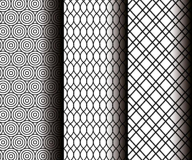 Stellen sie geometriezahlen in den grauen nahtlosen mustern ein