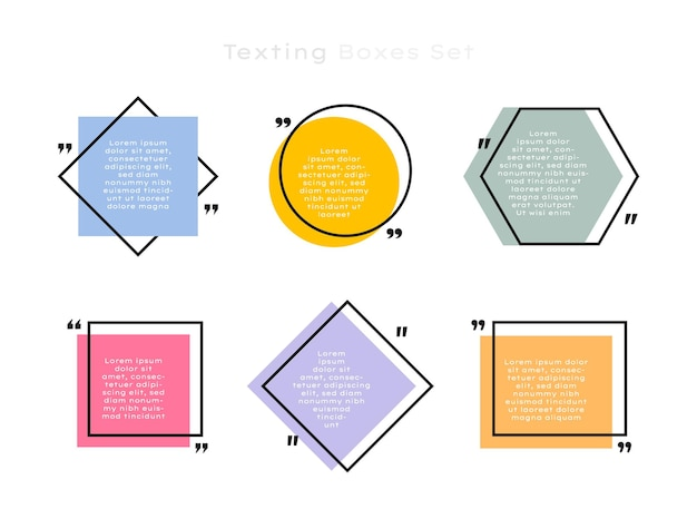 Stellen sie geometrische textfelder mit unterschiedlicher form ein. farbiges zitatfeld