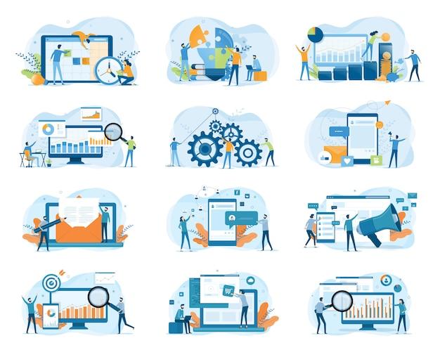 Stellen sie geschäftsentwurfskonzept der flachen illustration für website-banner und design der mobilen anwendung ein