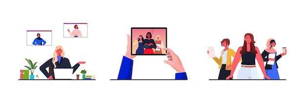 Stellen sie geschäftsfrauenführer ein, die mit kollegen während der horizontalen vektorillustration des videoanruf-führungskonzepts diskutieren