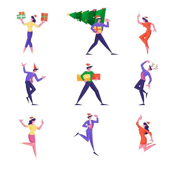 Stellen sie geschäftsleute charaktere ein, die neujahrsparty mit tannenbaum feiern
