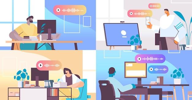 Stellen sie geschäftsleute ein, die in instant messenger durch sprachnachrichten kommunizieren. audio-chat-anwendung social media online-kommunikationskonzept horizontale vektorillustration