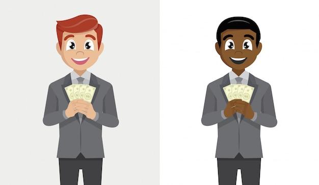 Stellen sie geschäftsmann in der klage ein, die fan des dollarbargeldes halten steht.